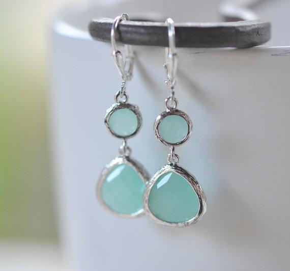 Hochzeit - Aqua Silver Teardrop Dangle Earrings. Earrings. Drop. Dangle. Bridesmaid Earrings. Wedding Jewelry. Christmas Gift.  Holiday Jewelry.