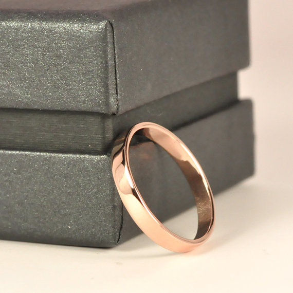 Свадьба - 18K Rose Gold Wedding Band, 3mm Smooth Polished finish, Sea Babe Jewelry