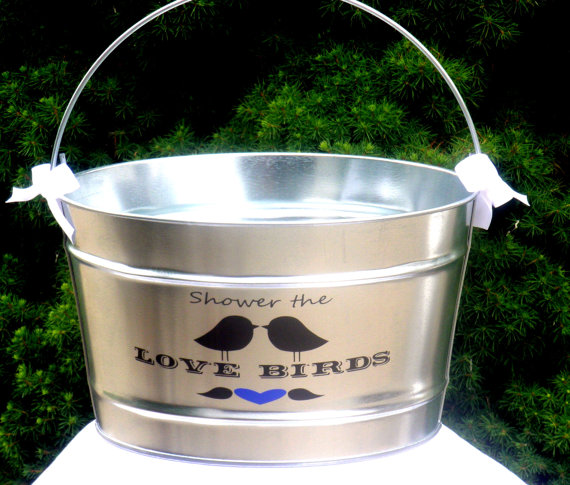 Shower The Love Birds Bird Seed Bag Holder For Wedding Ceremony Ice Bucket 16 Quart Galvanized Steel Pail