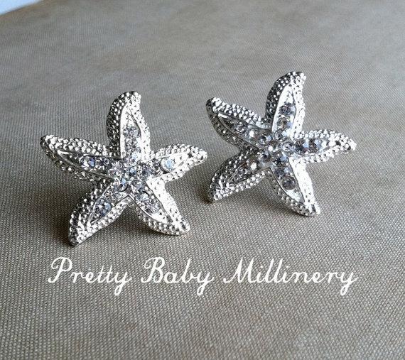 Mariage - Beach Wedding Earrings  - beach wedding jewelry, Starfish earring, Rhinestone stud crystal sea star accessories accessory SILVER