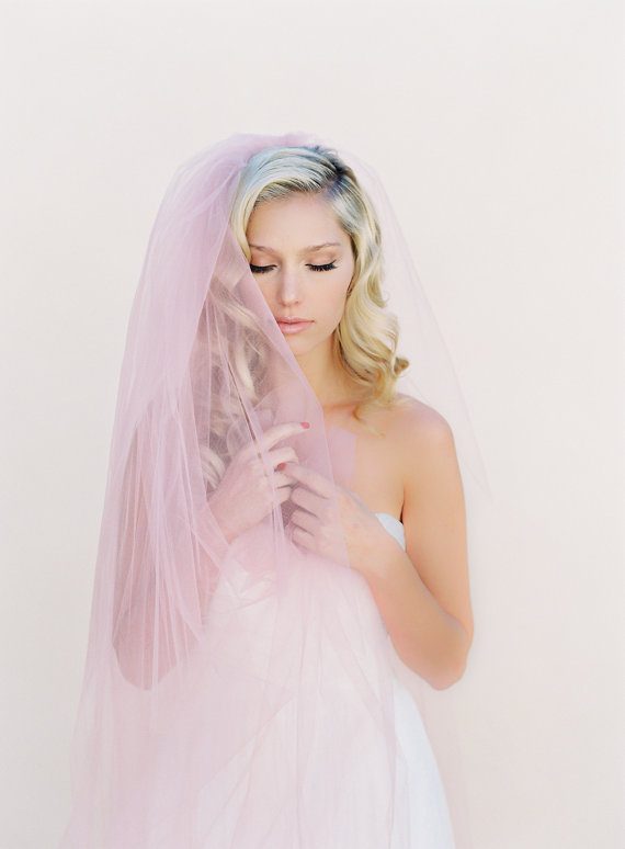 Mariage - Simple Wedding Veil, Single Layer Bridal Veil, Double Layer Veil, Tulle Wedding Veil, Cathedral Blush Veil, Style: Little Something #0802