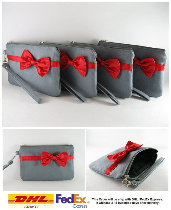 Mariage - SUPER SALE - Set of 6 Gray with Little Red Bow Clutches - Bridal Clutches, Bridesmaid Clutches, Wedding Gift, Zipper Pouch - Made To Order