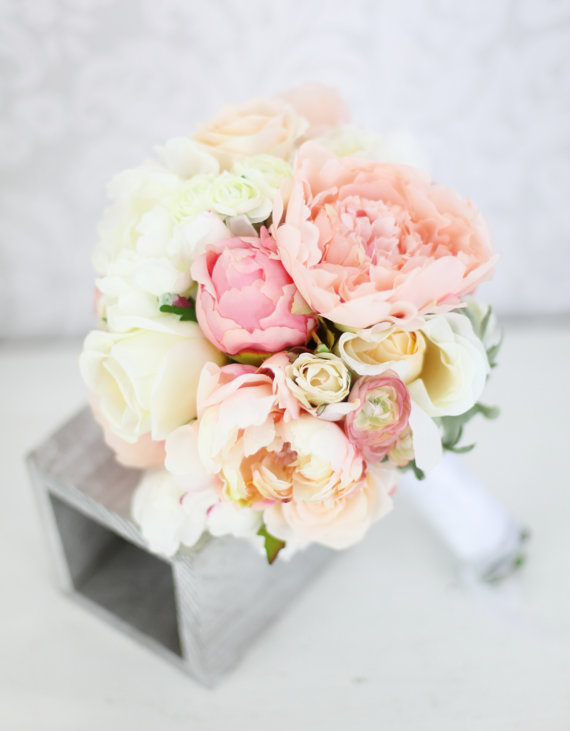 Свадьба - Silk Bride Bouquet Peony Flowers Pink Peach Cream Spring Mix Shabby Chic Wedding Decor
