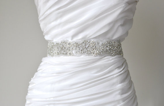 Mariage - Wedding sash, Crystal rhinestone beaded bridal sash, Bridal Accessories