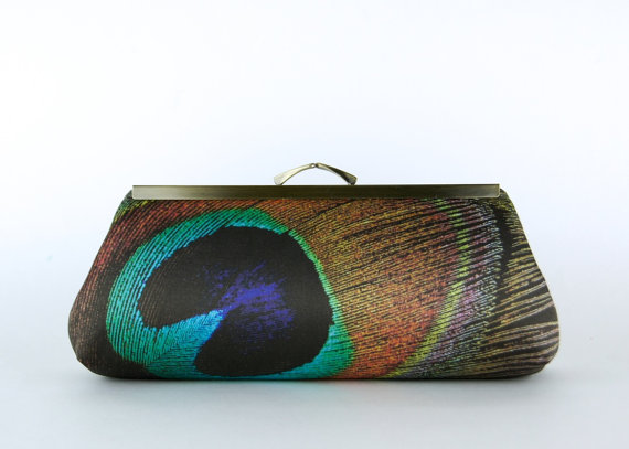 Mariage - Bridesmaid Gift,  EllenVintage Peacock Chocolate Clutch with Silk lining , Wedding clutch, Bridesmaid luxury gift