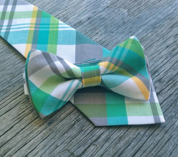 Wedding - Plaid Neck Tie - Green and Gray Tie - Yellow and Gray Tie - Groomsmen Tie - Ties for Boys - Ties for Wedding - Green and Yellow Tie