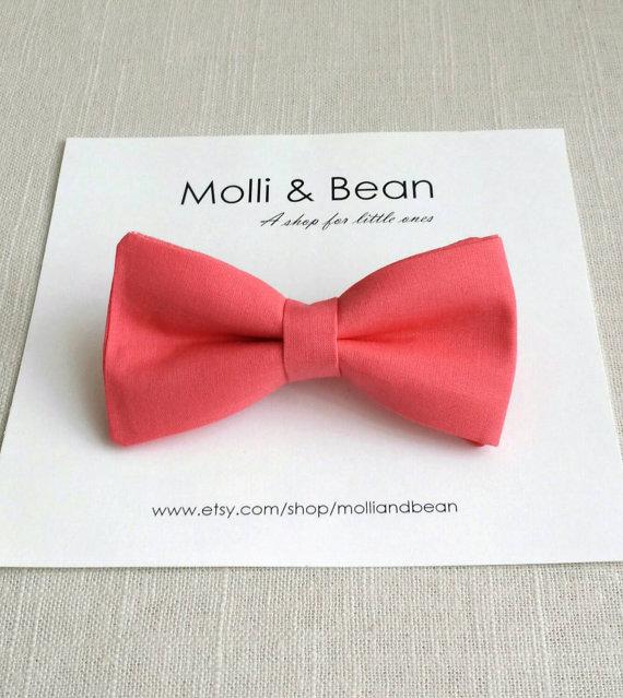 زفاف - The Liam ~ Baby, Newborn, Toddler, Boys bow tie, Wedding bow tie, Ring bearer bow tie, Kids bow tie, Coral bowtie, Mens tie, Easter bowtie