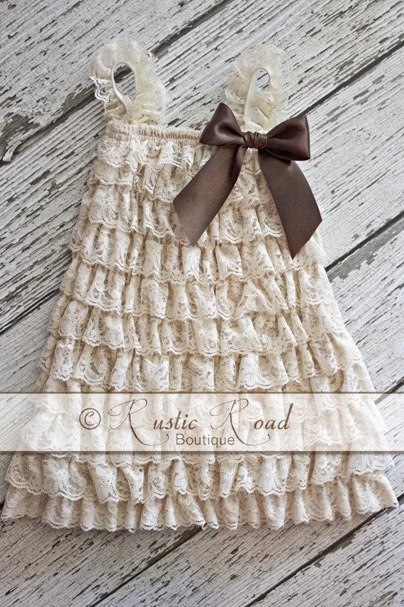Cream Lace Dress CHOOSE BOW COLORS Rustic Vintage Flower Girl Champagne Baby Birthday Outfit Ivory Ruffle 3Mo 6Yr