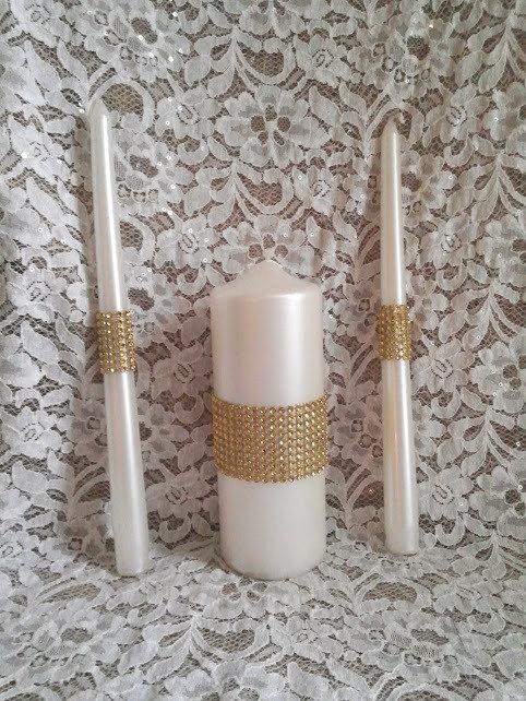 Wedding - Pearl Wedding Unity Candle set embellished with Gold Rhinestone Mesh Trim, Made to Order