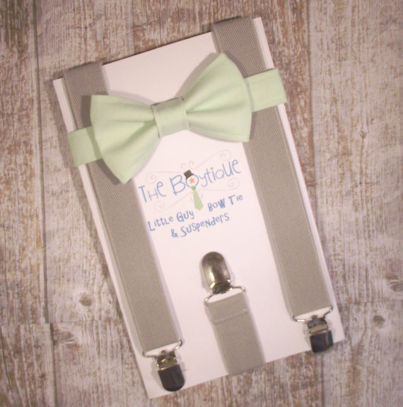 Свадьба - Mint Bow Tie and Grey Suspenders, Toddler Suspenders, Baby Suspenders, Ring Bearer, Light Green, Pastel