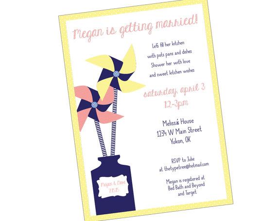Pinwheel flower wedding shower invitation printable pdf for Bridal shower email invitations