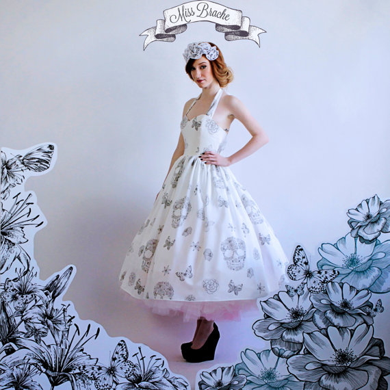 Sugar Skulls, Flowers And Butterflies Print Wedding Dress With OMBRE ...