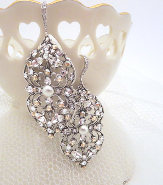 Mariage - Chandelier Wedding earrings, Crystal Bridal earrings, Wedding jewelry, Swarovski earrings, Filigree earrings, Vintage style earrings