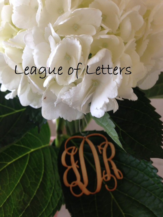 Свадьба - 2 inch Wooden Monogram Letters Great for Chrismas Ornaments & Wedding Bouquet Charms
