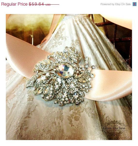 Свадьба - Bridal sash, Blush Sash, crystal sash, Blush ribbon sash, rhinestone belt, wedding accessory, bridal belt, bridesmaid belt
