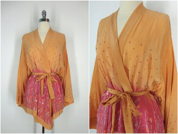 Свадьба - Kimono / Silk Kimono Robe / Kimono Cardigan / Kimono Jacket / Wedding lingerie / Vintage Sari / Art Deco / Downton Abbey / Sequined Kimono
