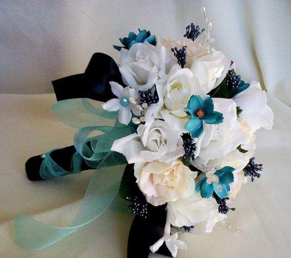 زفاف - Wedding Accessories Turquoise Wedding Flowers Package Bridal Bouquet Boutonnieres Black Aqua Tiffany Blue Custom For Maggie