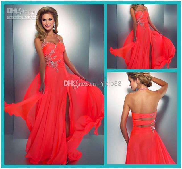 2014 Coral Colored Prom Dresses Crystal Embellished Halter