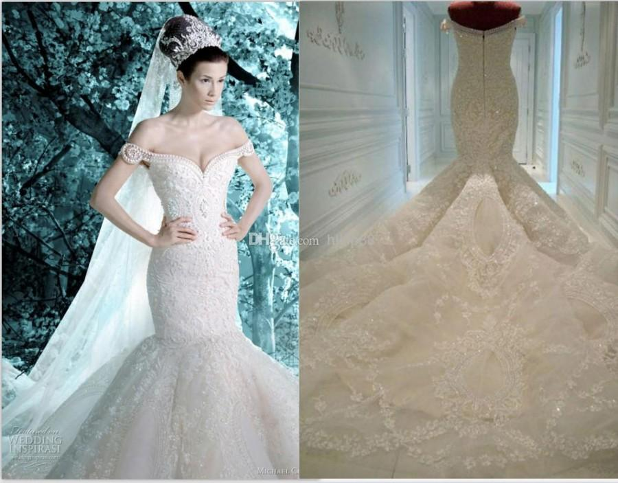 2014 New Arrival Michael Cinco Sheer Backless Garden Wedding Dresses ...