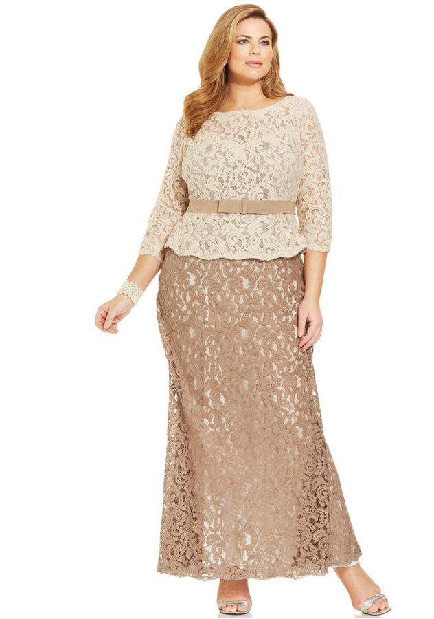Adrianna Papell Plus Size Three Quarter Sleeve Colorblock Lace Gown