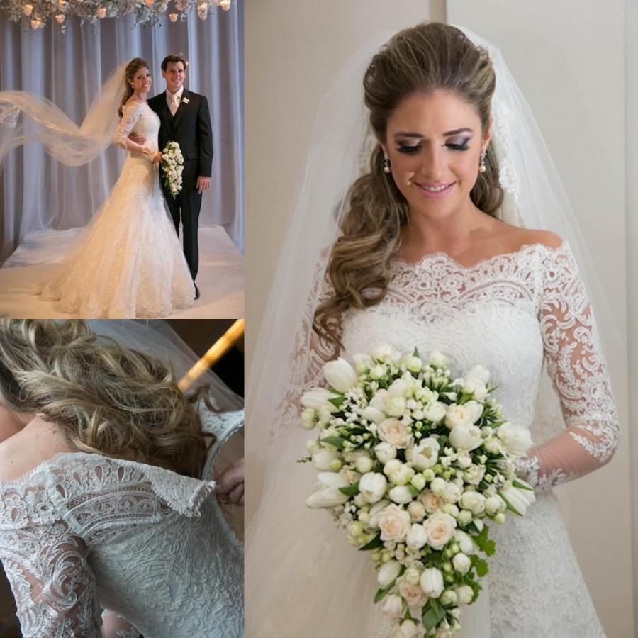 Vestidos de noiva 2015 romantic appliques lace wedding for Romantic vintage lace wedding dresses