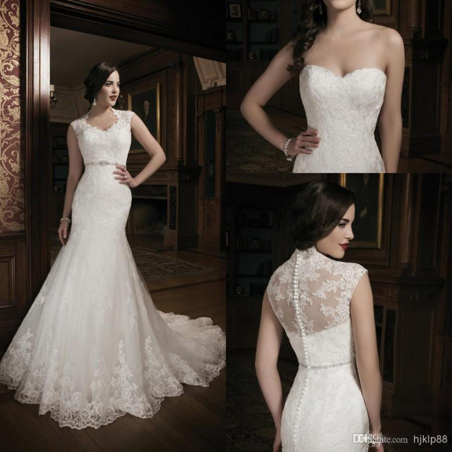 Mariage - Beautiful 2014 New Collection Mermaid Lace Ivory Wedding Dress Bridal Gown With Lace Jacket Sweet-heart Court Train Buttons, $118.5