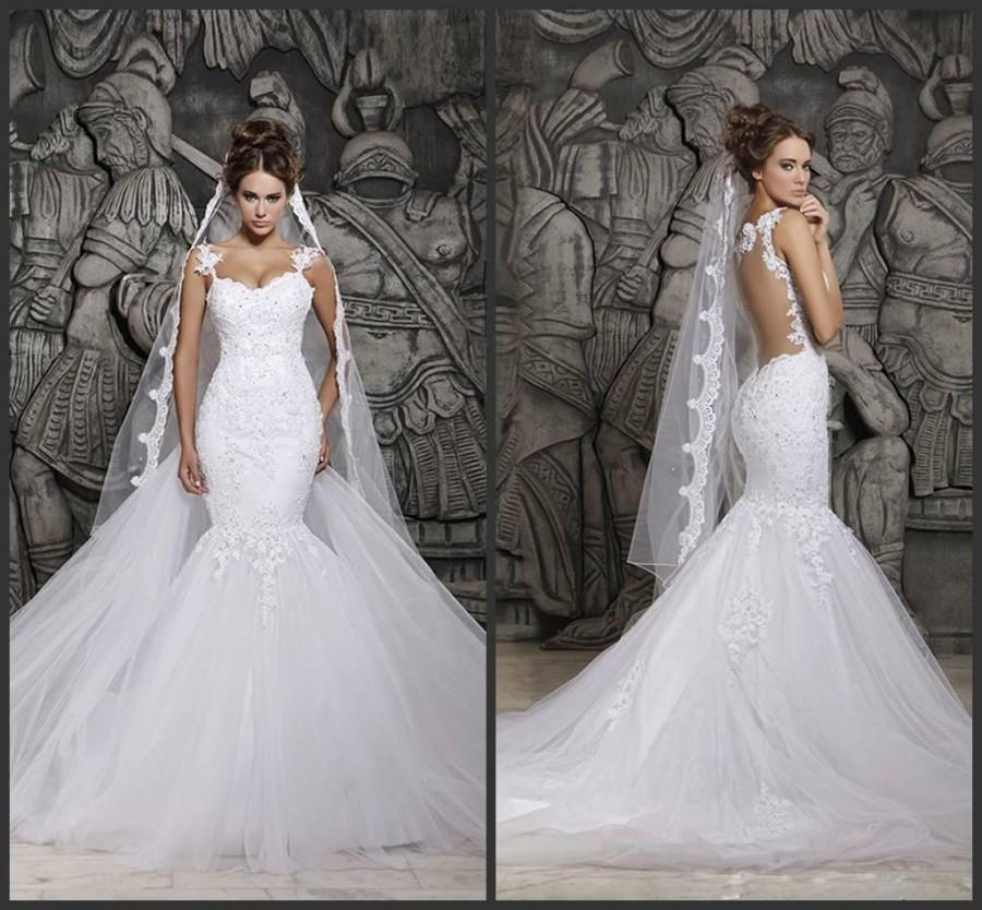 Wedding - Custom Made 2014 Beautiful Court Train Illusion Transparent Back Beaded Lace Mermaid Wedding Dresses Bridal Gowns, $117.08