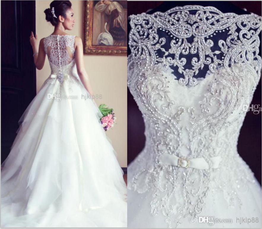 Vestido De Noiva Ball Gown Vintage Wedding Dresses Lace Crew Neck ...