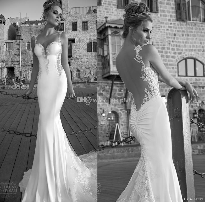 Hochzeit - 2015 New Arrival Galia Lahav Sheer Backless Wedding Dresses Vintage Lace Bead Open Back Wedding Dress Spaghetti Bridal Gown, $129.85