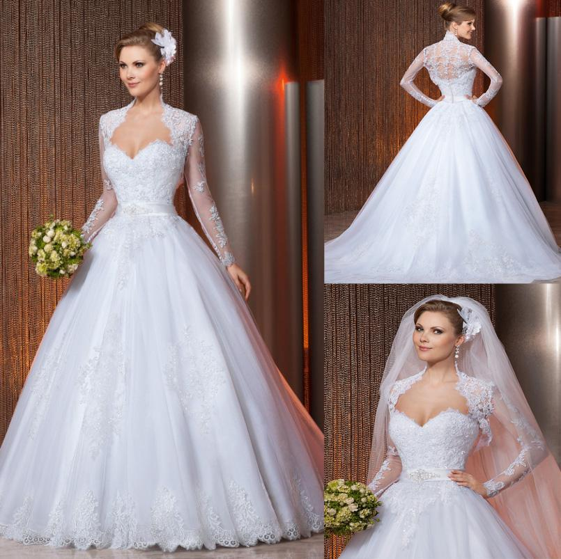 Wedding - Amazing 2014 New Arrival Luxury Long Sleeve Wedding Gowns Ball Gown Sweetheart White Lace Appliques Sashes Beads Zipper Bridal Gown, $137.96