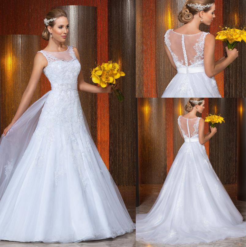 Hochzeit - 2014 New Vestido Noivas Sheer Illusion Backless Vintage Applique Beaded A-Line Wedding Dresses Beaded Sash Covered Button Bridal Gown, $129.06