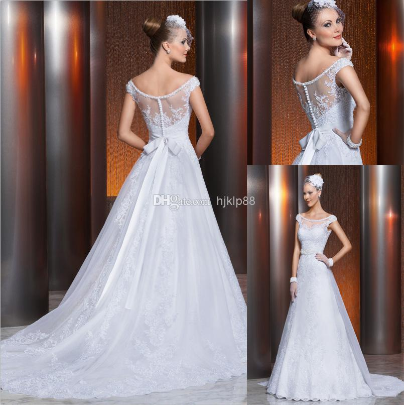 Wedding - 2014 New Vestido Noivas Sheer Illusion Backless Vintage Applique Beaded A-Line Wedding Dresses Beaded Sash Bow Covered Button Bridal Gown HK, $129.06