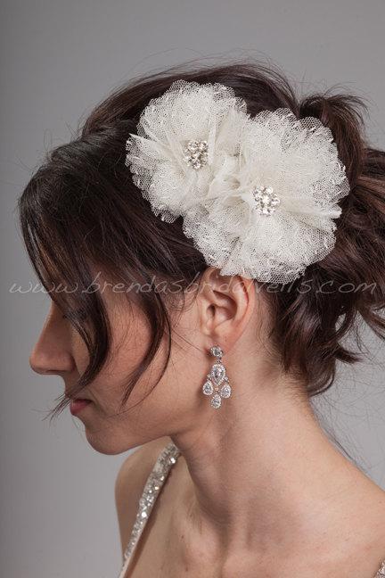 Mariage - Bridal Hair Flower 2 Piece Set, Point d'Esprit Wedding Flowers, Birdcage Veil Fascinators - Flora
