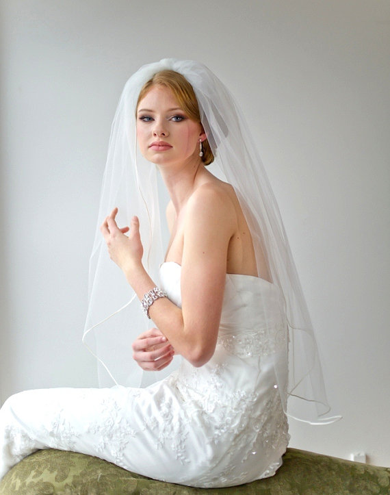 "Mariage - Bridal Veil, Traditional Veil,  One Layer Veil, Wedding Veil, Soutache Trim Veil, 36"" Tulle Veil"