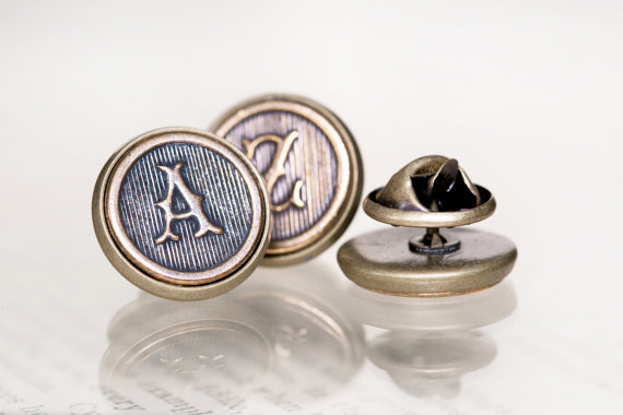 Hochzeit - Custom Initial Tie Tack, Made to Order - Perfect Groomsmens Gifts, Antiqued Brass, Shipped Quickly via FedEx withiin the US