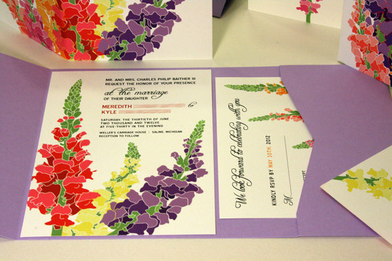 زفاف - NEW SAMPLE Pocketfold Snapdragon Wedding Invitation, Purple, Pink, Yellow, Orangea, Red
