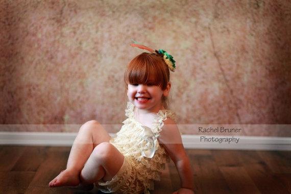 زفاف - Cream lace romper - vintage lace dress - bridesmaid dress - flower girl dress - cream flower girl dress - cream lace romper