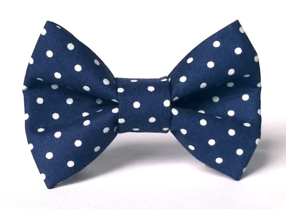 Свадьба - Dog Bow Tie, Dog Bow, Polka Dot Navy (Navy Blue, White), Removable Dog Style Accessory for Pet Collar
