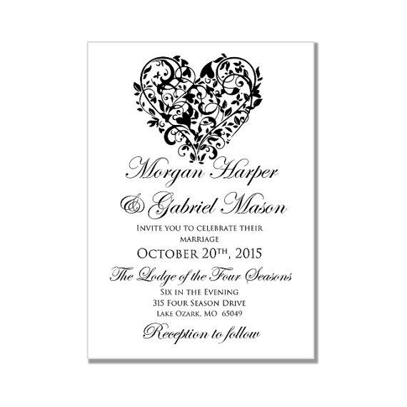 Printable Wedding Invitation Heart DIY Wedding Invitations