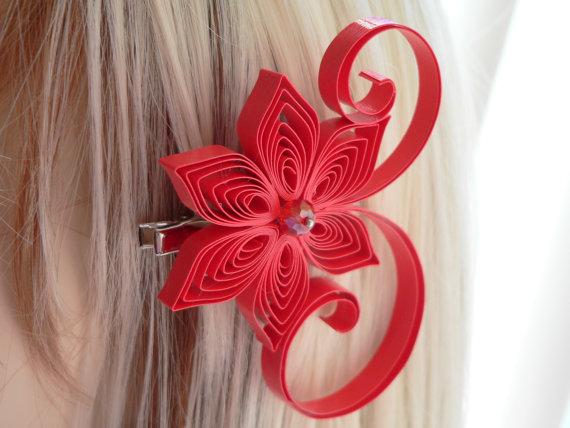 Wedding - Valentina Wedding Hair Clip, Bright Red Wedding Hair Accessory, Red Hair Clip
