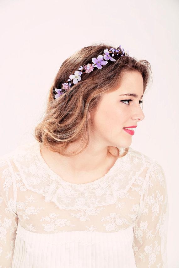 Hochzeit - Bridal flower crown, Purple flower, woodland wedding, wedding hair accessory
