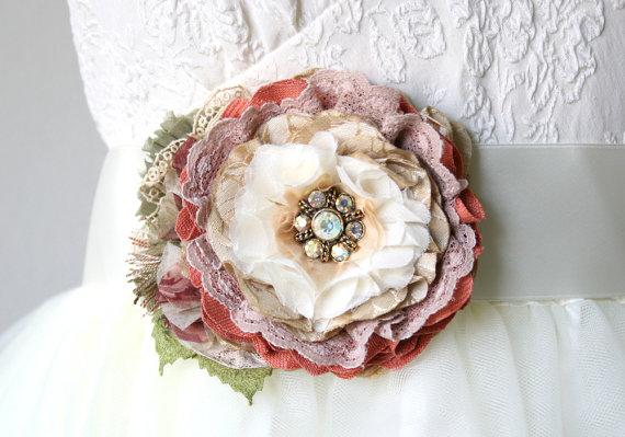 Hochzeit - Coral and Mauve Pink Bridal Sash, Floral Sash, Wedding Dress Sash, Wedding Dress Flower Brooch, Bridesmaid Sash, Wedding Corsage, Colorful