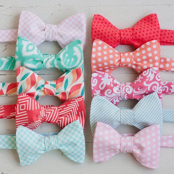 زفاف - The Beau- men's coral/mint/peach/blush collection freestyle bow ties- choose your favorite print