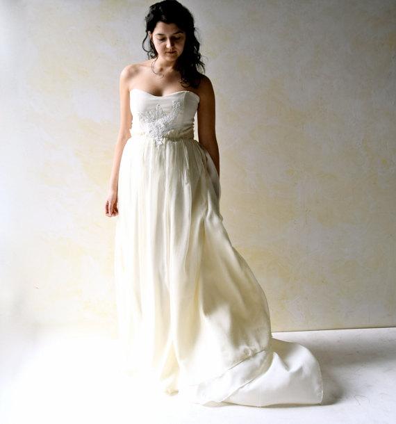 Düğün - Fairy Wedding Dress, Strapless wedding dress, Wedding Gown, Boho wedding dress, Silk Wedding dress, Alternative wedding dress, custom dress