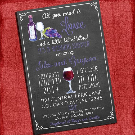 Printable Wine Theme S Coed Wedding Shower Invitation I Design You Print