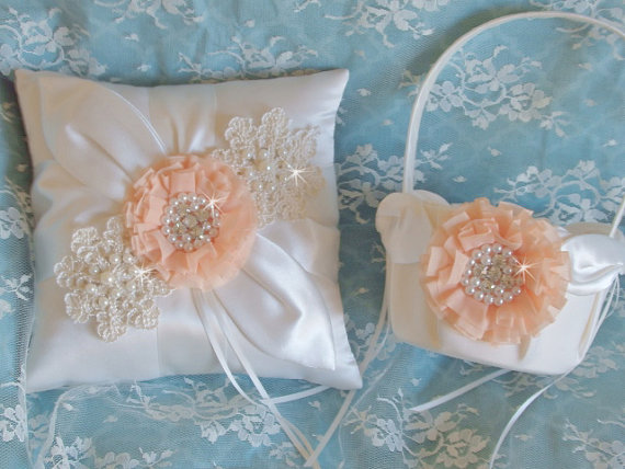 Pretty In Peach Organza Wedding Flower Girl Basket Pillow Set, Peach ...