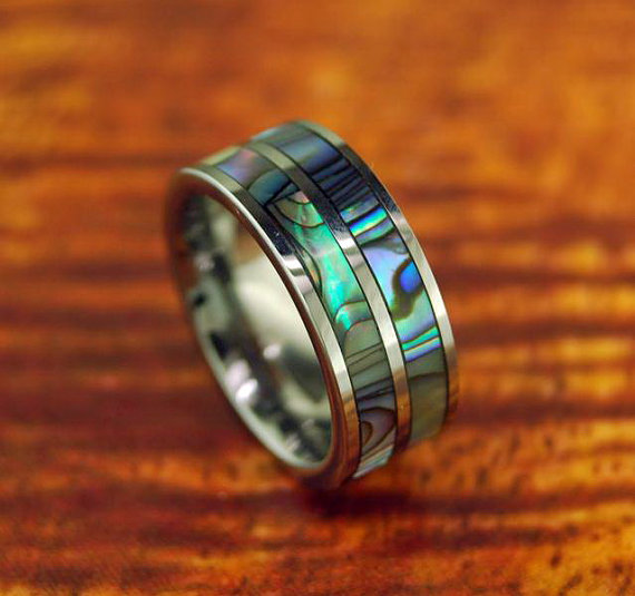 Hochzeit - Tungsten Carbide Ring/Wedding Band With Two Abalone Lines 8MM - Promise/Engagement Ring