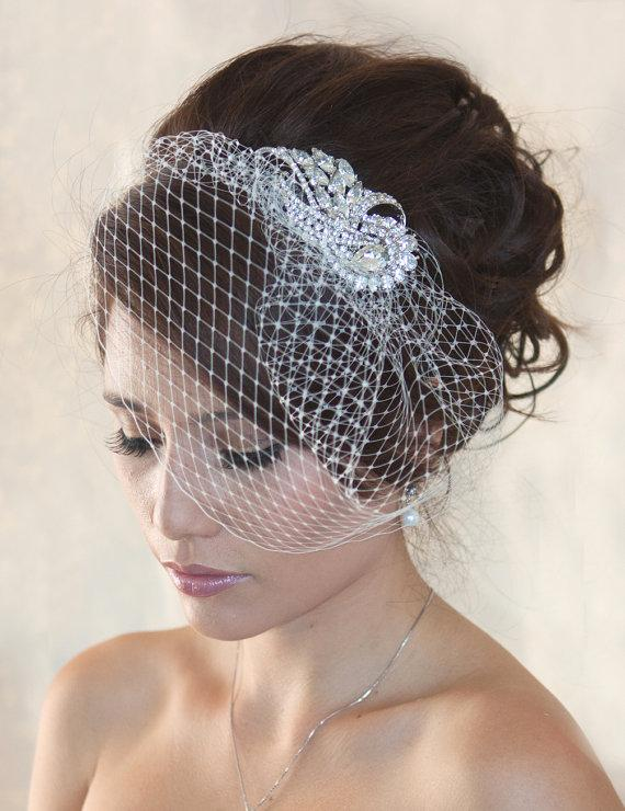 Wedding - Wedding Birdcage Veil  with Crystal rhinestone brooch VI01 Comb or Headband - ready to ship