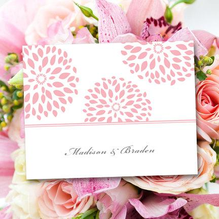 "Свадьба - Printable Thank You Card Template ""Floral Petals"" Blush Pink"