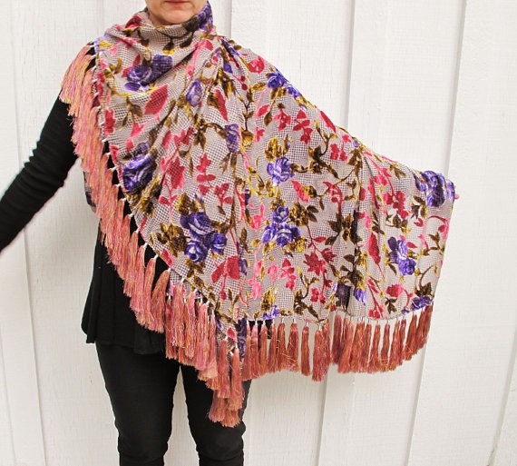 Свадьба - Hot Pink and Purple Cut Velvet Tassel Shawl with 68 Gorgeous  Silk Tassels by the Old Silk Route
